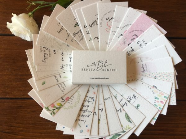 he Art of Trying Affirmation Cards set, with back view of box