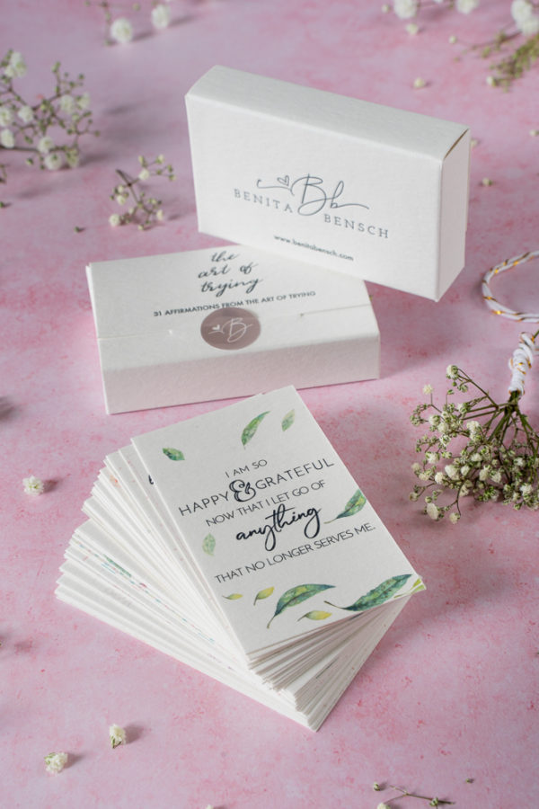 The Art of Trying Affirmation Cards Set, with front and back view of box