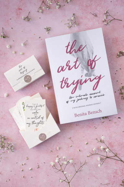 The Art of Trying book and card set bundle, with front view of box